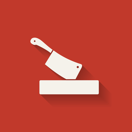 butcher knife in chopping board. red background. vector illustration - eps 10