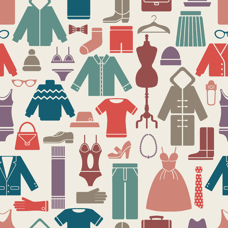 clothes set seamless pattern. vector illustration eps8 with clipping mask