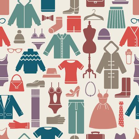 kleding set naadloos patroon. vector afbeelding eps8 met het knippen van masker Vector Illustratie
