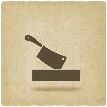 chopping: butcher knife in chopping board old background. vector illustration - eps 10