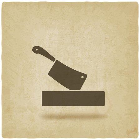 tablero: cuchillo de carnicero en la tabla de cortar de fondo antiguo. ilustración vectorial - EPS 10