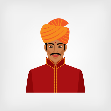 turban: Indian man in traditional clothes. vector illustration - eps 8 Illustration