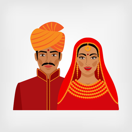 girl in red dress: Indian man and woman in traditional clothes. vector illustration - eps 8