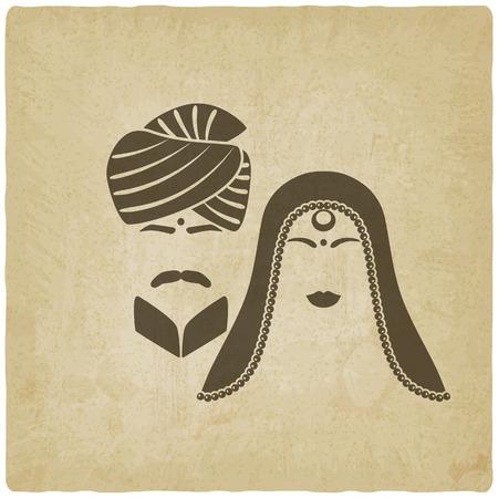 結婚式: インドの男性と女性の伝統的な衣服。古い背景。ベクター グラフィック - eps 10