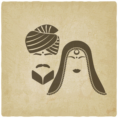 bride and groom illustration: Indian man and woman in traditional clothes. old background. vector illustration - eps 10 Illustration