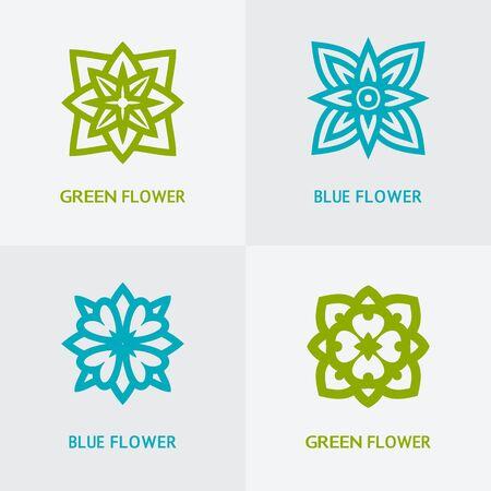spa flower: natural floral logo set - vector illustration. eps 8