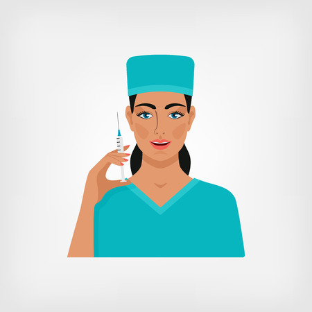 eps 8: nurse with syringe. vector illustration - eps 8