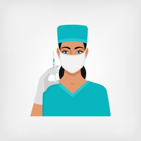 surgical glove: nurse with syringe in medical mask and gloves. vector illustration - eps 8 Illustration