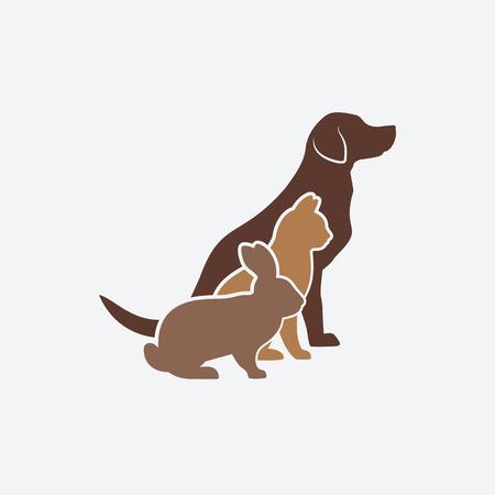 veterinaria: Animales siluetas. perro, gato y conejo. logotipo de la tienda de animales o clínica veterinaria. ilustración vectorial - EPS 8