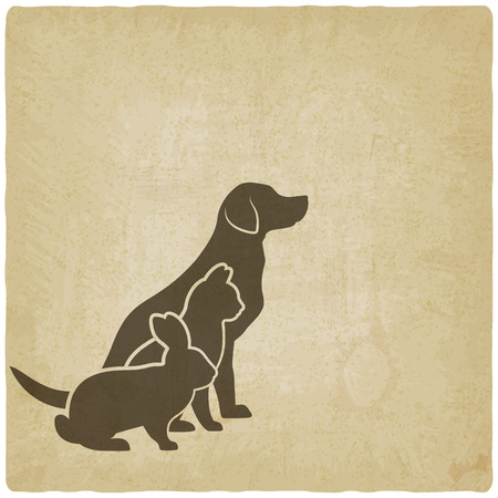 veterinaria: Animales siluetas. perro, gato y conejo. logotipo de la tienda de animales o clínica veterinaria. ilustración vectorial - EPS 10