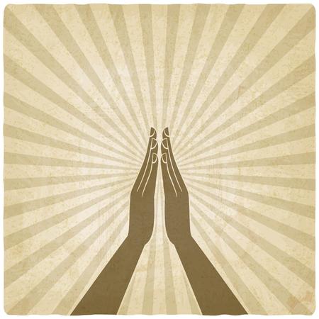 prayer hands symbol old background - vector illustration. eps 10 일러스트