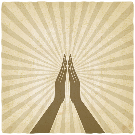 prayer hands symbol old background - vector illustration. eps 10 Vettoriali