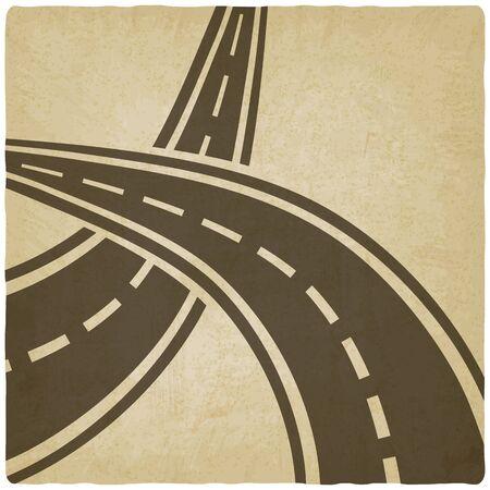 tar paper: crossed roads old background - vector illustration. eps 10