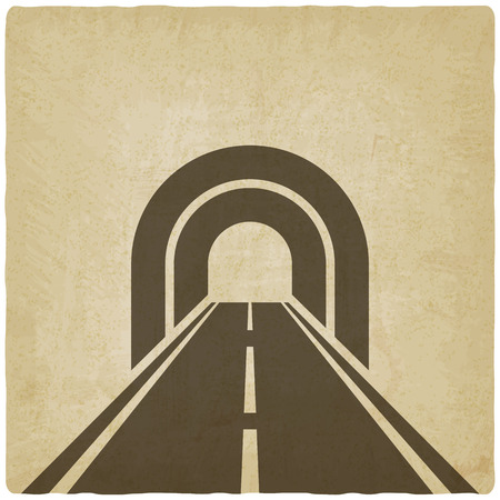 road tunnel: road through tunnel old background - vector illustration. eps 10