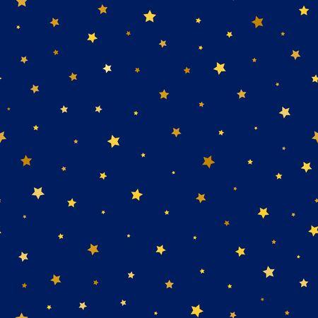 stars sky: stars golden seamless pattern. vector illustration - eps 8