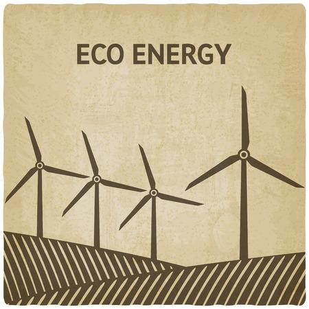 wind power: wind turbine in field old background - vector illustration. eps 10