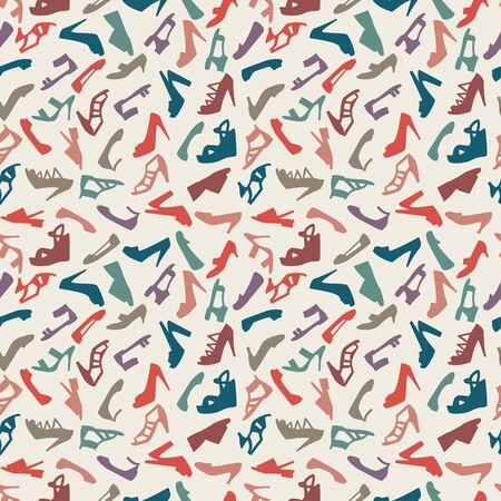tienda zapatos: zapatos de las mujeres sin patrón. ilustración vectorial