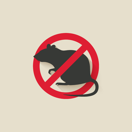 rat cartoon: señal de advertencia de rata. ilustración vectorial - EPS 10 Vectores