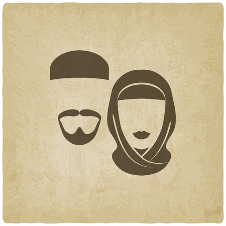 asian man face: Muslim man and woman old background - vector illustration. eps 10 Illustration