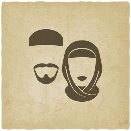 viso uomo: uomo musulmano e una donna vecchio sfondo - illustrazione vettoriale. eps 10