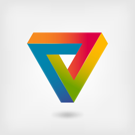 Penrose triangle multicolor abstract symbol - vector illustration. eps 10