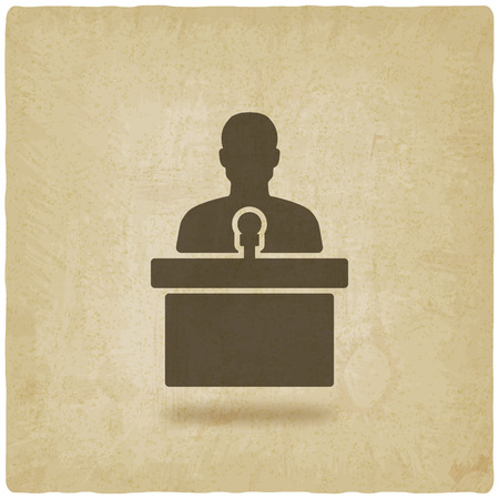 spokesperson: man on podium with microphone old background - vector illustration. eps 10