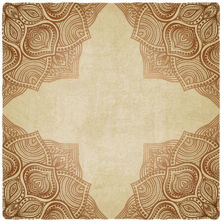 islam: brown corner pattern old background.