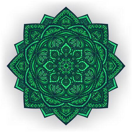 rangoli: green floral round ornament white background Illustration