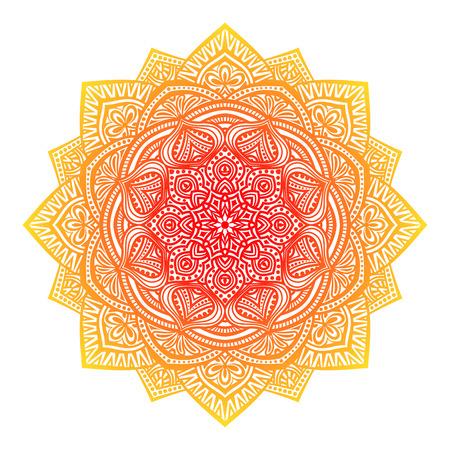 indische muster: Blumen runden Ornament weißem Hintergrund