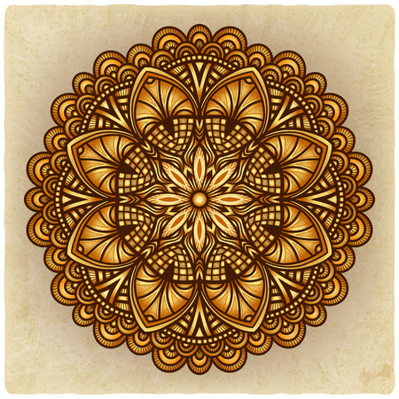 brown background: golden floral ornament. circular pattern old background - vector illustration.