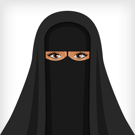 black woman: Beautiful muslim woman in black burqa - vector illustration. Illustration