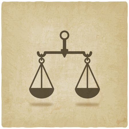 scales of justice: scales justice symbol old background - vector illustration.