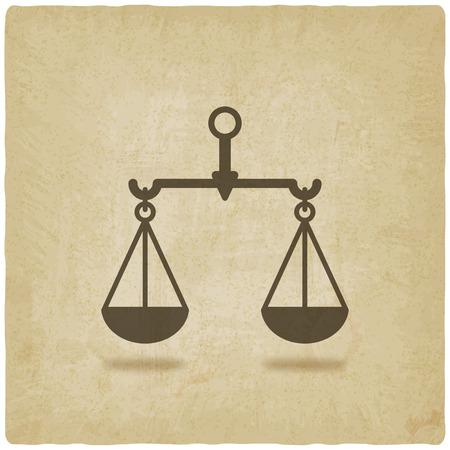 justice: scales justice symbol old background - vector illustration.