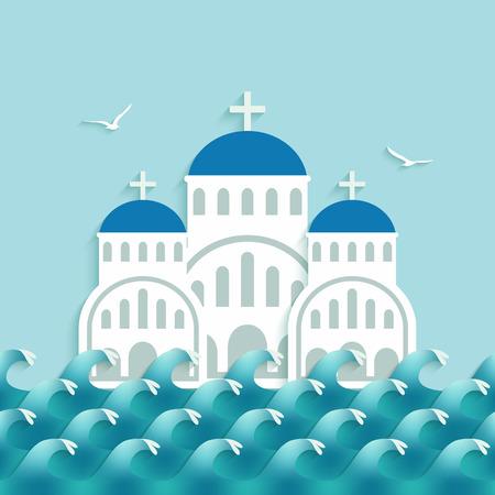Iglesia griega blanca cerca del mar azul. ilustración vectorial