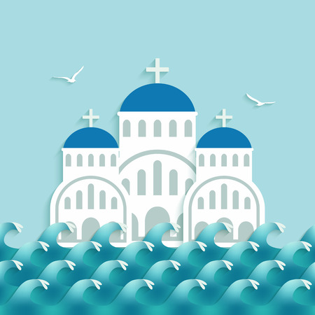 White Greek Church near blue sea. vector illustration