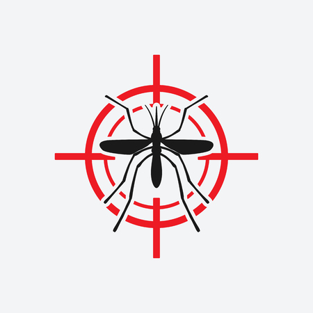 infect: mosquito icon red target - vector illustration.