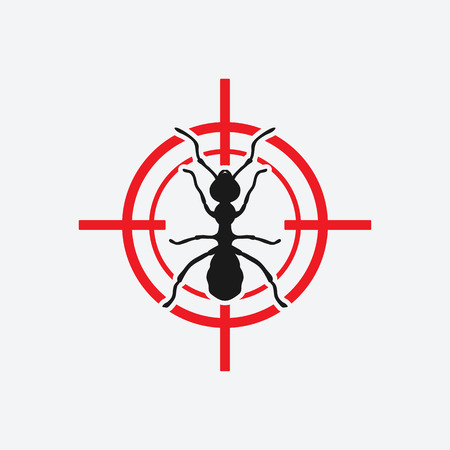 ant icon red target - vector illustration.