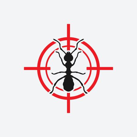 ikona mrówki czerwony cel - ilustracji wektorowych.