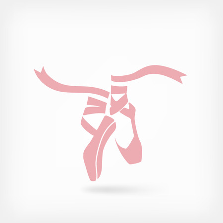ballet studio: pink ballet pointes. dance studio symbol - vector illustration.