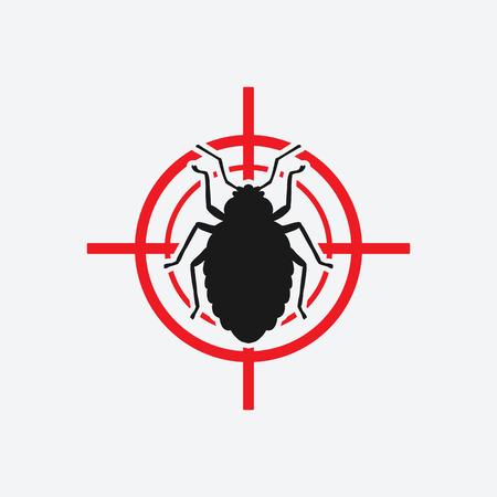 bug icon red target - vector illustration. Векторная Иллюстрация