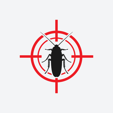 dead insect: cockroach icon red target - vector illustration.