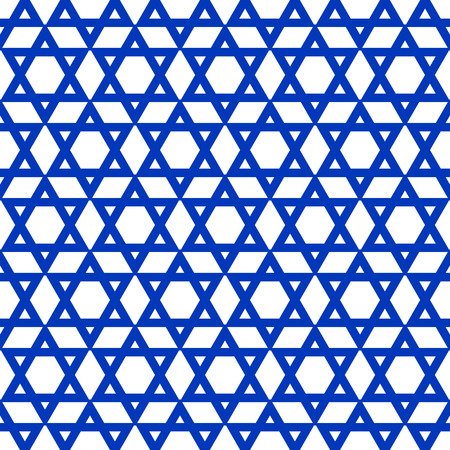 star pattern: blue six-pointed star pattern - vector illustration.