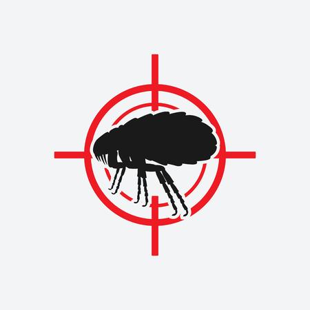fleas: flea icon red target - vector illustration.