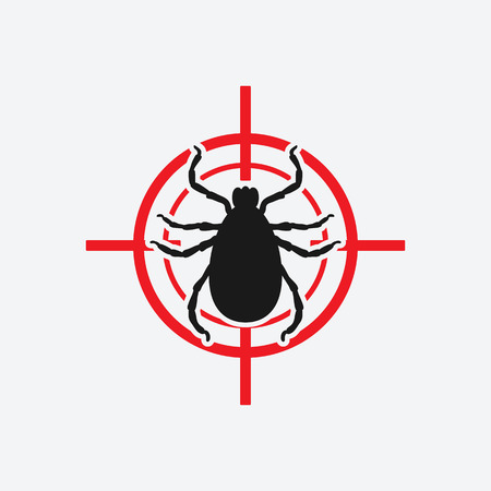 mite: mite icon red target - vector illustration.