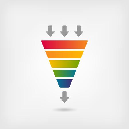 arco iris embudo de marketing de color - ilustración vectorial.