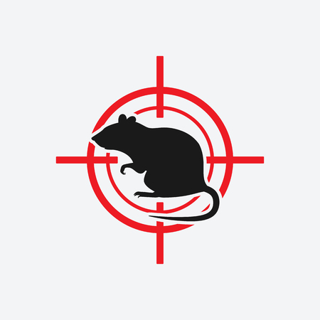 rat icon red target - vector illustration.