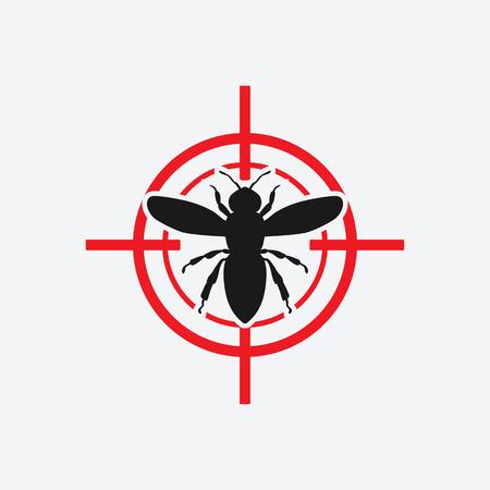 wasp: wasp icon red target - vector illustration. Illustration