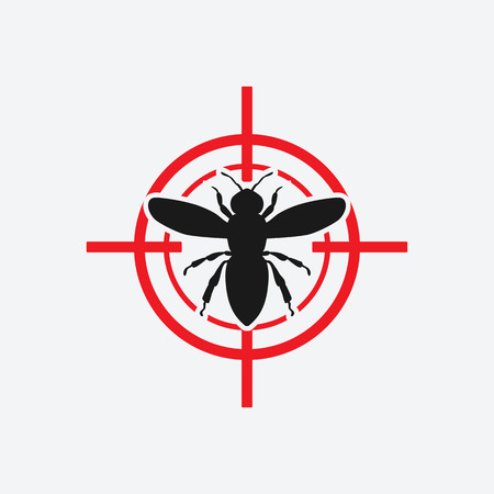 wasp icon red target - vector illustration.