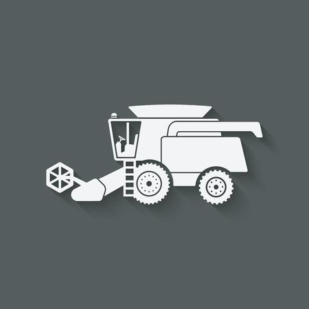 cosechadora: combinar la maquinaria agrícola cosechadora - ilustración vectorial.