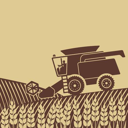 combine harvester in field - vector illustration.
